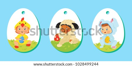 Easter gift tag vector set download free vector art stock set of easter gift labels price tags with kids in costumes with eggs cartoon negle Images