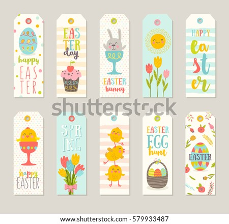 Easter gift tag vector download free vector art stock graphics set of easter gift tags and labels with cute cartoon characters and type design easter negle Image collections