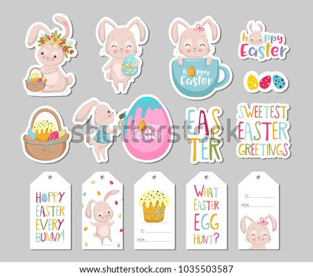 Easter gift tag vector collections download free vector art stock set of easter gift tags scrapbooking elements labels badges with cute bunnies and negle Images