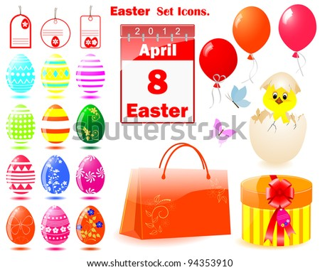 Set of Easter icons with eggs, calendar, gifts and Chicken in a shell. Vector illustration. EPS10.