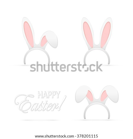 set of easter mask with rabbit
