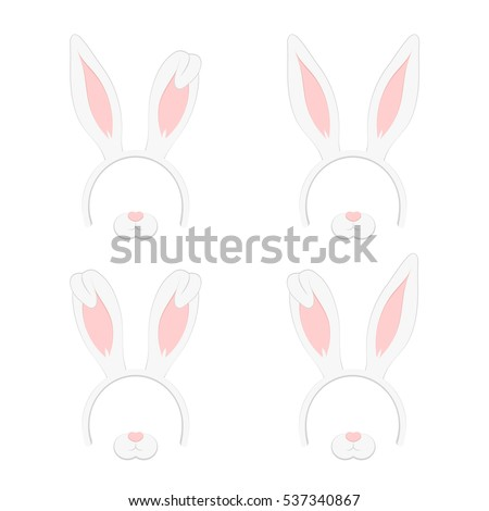 Set of Easter mask with rabbit ears isolated on white background, illustration. Cartoon Cute Headband with Ears Holiday Set. Flat Design Style