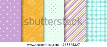 Set of Easter seamless Patterns. Pattern design set with Eggs, Gingham, Polka Dot and Stripes. Endless texture for web, picnic tablecloth, wrapping paper. Pattern templates in Swatches panel.