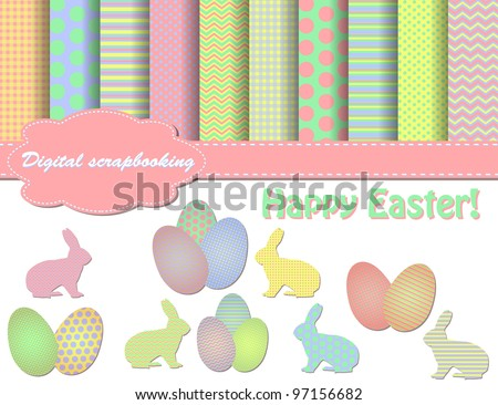 set of easter vector paper and