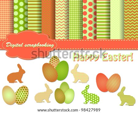 set of Easter vector paper and clip art for scrapbook