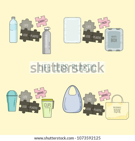 Set of easy way to use less plastic. Start reducing plastic waste in everyday life. Life less plastic concept. Vector illustration.
