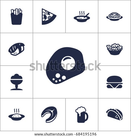Set Of 13 Eat Icons Set.Collection Of Spaghetti, Broth, Pepperoni And Other Elements.