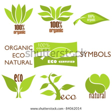 Set of eco and organic logo symbols and icons for design. Vector illustration