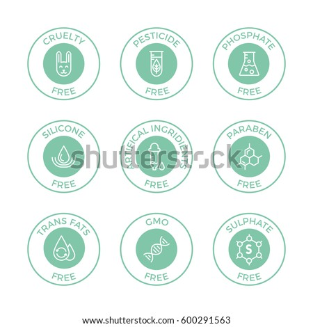 set of eco badges free from