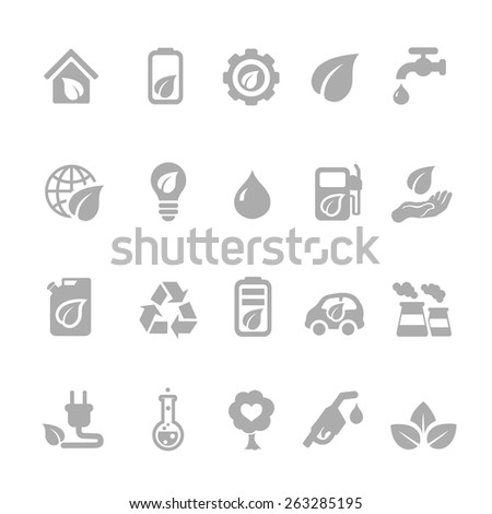 set of eco energy icons with