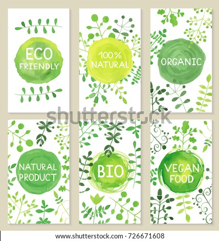 Set of eco friendly labels cards. Packaging tags for vegetarian healthy products.  #726671608