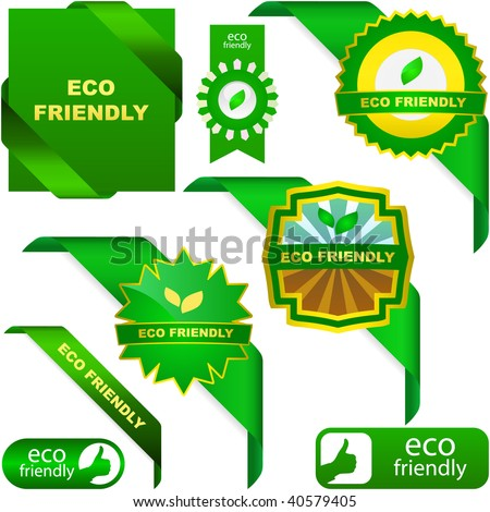 Set of eco friendly, natural and organic labels.
