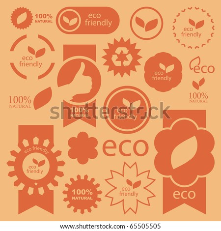 Set of eco friendly, natural and organic signs.