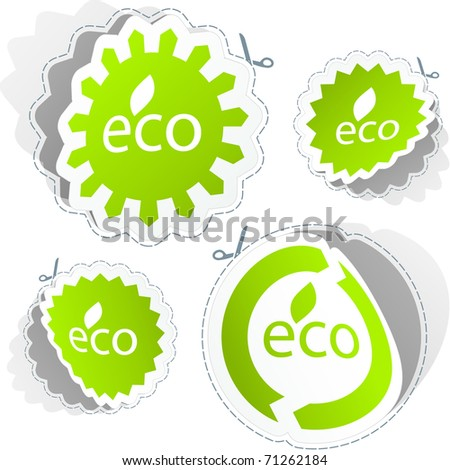 Set of eco friendly stickers.