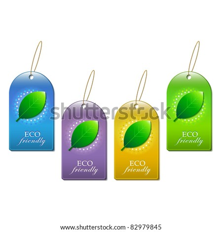set of eco friendly with leaf labels