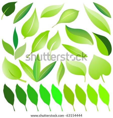 Set of eco green leaf design vector