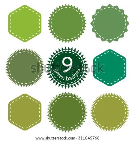 Set of eco, green, natural badges.