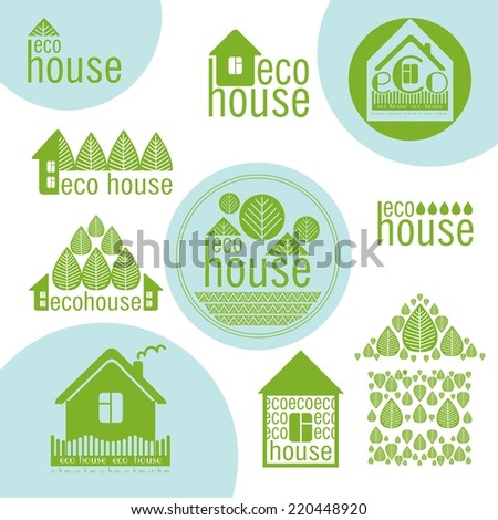 set of eco houses natural materials green design