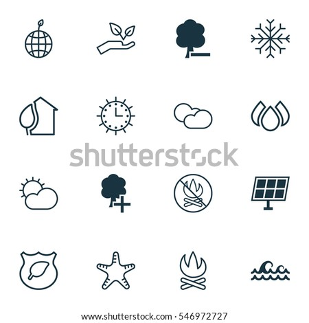 set of 16 eco icons includes