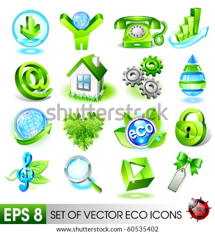 Set of eco icons. Vector