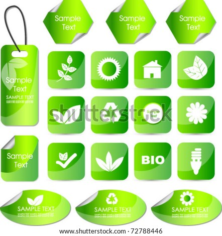set of eco stickers tags or badges