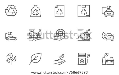 Set of Ecology Environment and Conservation Line Icons with Electric Car, Forest, Organic Farming and more. Editable Stroke. 48x48 Pixel Perfect.