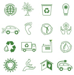 Set of 16 ecology/environment icons. Line design.