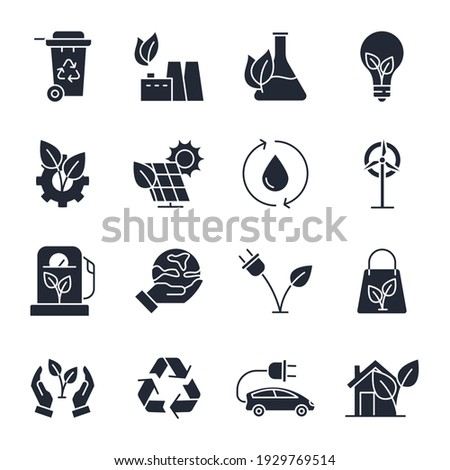Set of ecology Environmental sustainability icon. Eco friendly pack symbol template for graphic and web design collection logo vector illustration