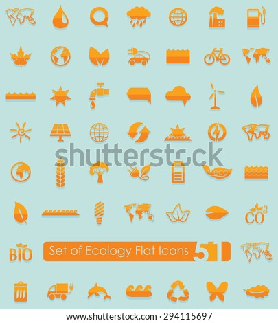 set of ecology flat icons for