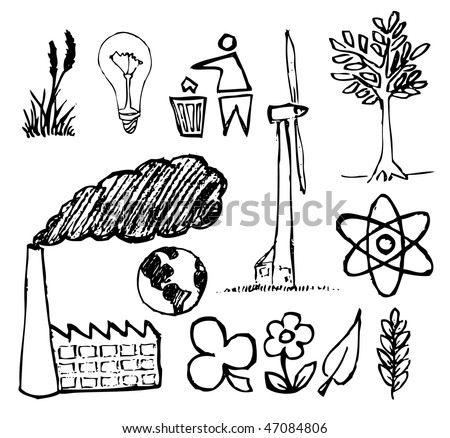 Set of ecology hand-drawn icons - doodles (vector)