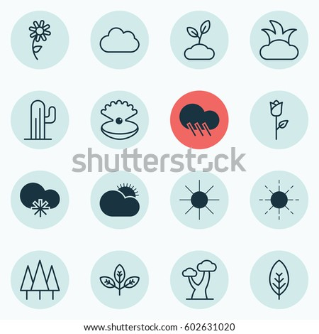 set of 16 ecology icons