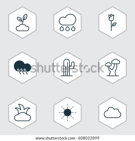 set of 9 ecology icons