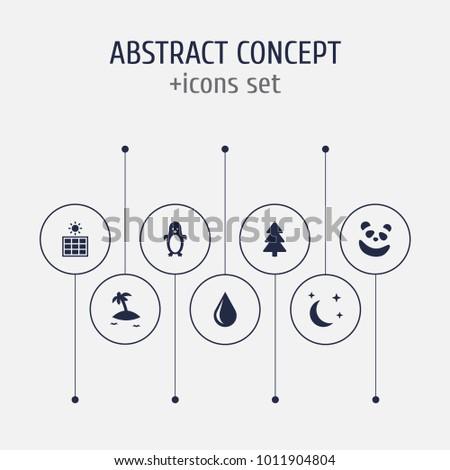 set of 7 ecology icons set
