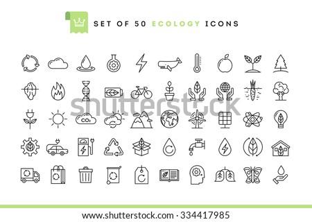 set of 50 ecology icons  thin