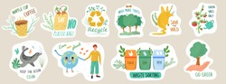 Set of ecology stickers with slogans. Bundle of decorative design elements. Flat cartoon vector illustration