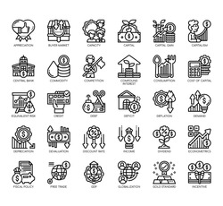 Set of economy thin line and pixel perfect icons for any web and app project.