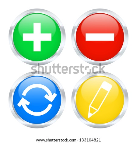 Set of edit web buttons. Vector illustration.