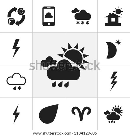 Set of 12 editable air icons. Includes symbols such as flash, celsius fahrenheit, drop and more. Can be used for web, mobile, UI and infographic design.