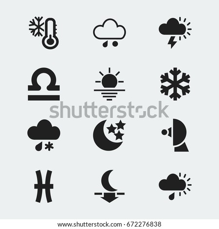 Set Of 12 Editable Air Icons. Includes Symbols Such As Scales, Particle, Moonlight And More. Can Be Used For Web, Mobile, UI And Infographic Design.