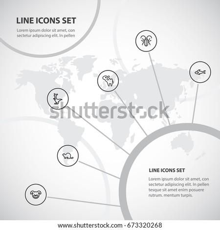 set of 6 editable animal icons