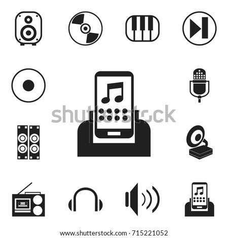 Set Of 12 Editable Audio Icons. Includes Symbols Such As Rec, Headphones, Synthesizer And More. Can Be Used For Web, Mobile, UI And Infographic Design.