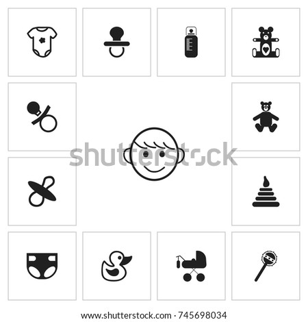 set of 13 editable baby icons