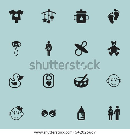 set of 16 editable baby icons