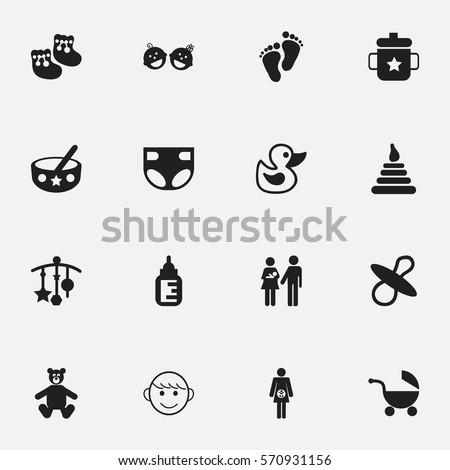 set of 16 editable baby icons