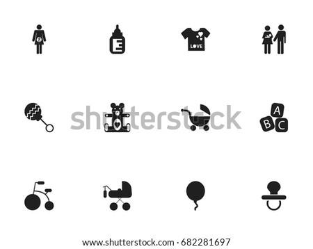 set of 12 editable baby icons