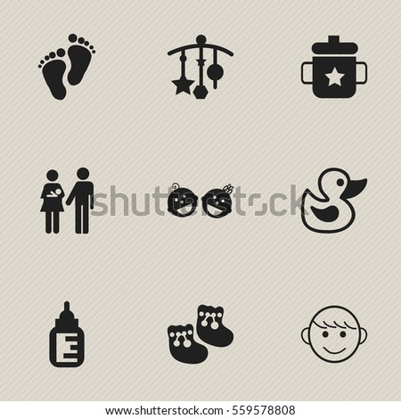 set of 9 editable baby icons