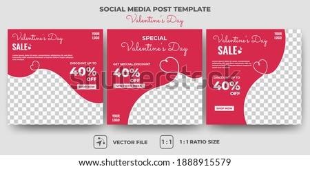 Set of Editable banner template design. Valentine's sale social media banner design. Red background with abstract line shape. Suitable for social media, and banners. Vector design with a photo collage