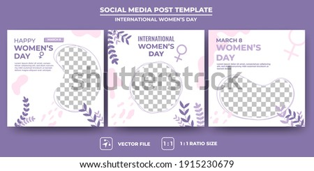 Set of Editable banner template. International women's day banners with abstract minimalist style design. Suitable for social media post, banners, and web ads. Flat design vector with a photo collage.