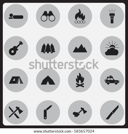 Set Of 16 Editable Camping Icons. Includes Symbols Such As Clasp-Knife, Tomahawk, Fever And More. Can Be Used For Web, Mobile, UI And Infographic Design.