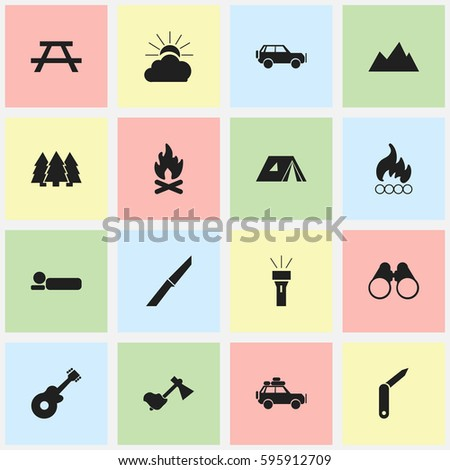 Set Of 16 Editable Camping Icons. Includes Symbols Such As Fever, Musical Instrument, Ax And More. Can Be Used For Web, Mobile, UI And Infographic Design.